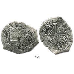 Potosi, Bolivia, cob 8 reales, 1651E, crowned-o countermark on cross (scarce).