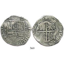 Potosi, Bolivia, cob 8 reales, 16(5)1E, no countermark (rare).