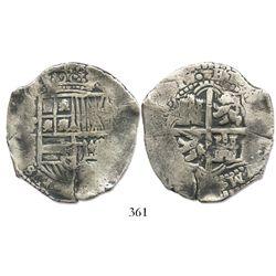 Potosi, Bolivia, cob 8 reales, (165)1E, no countermark (rare).