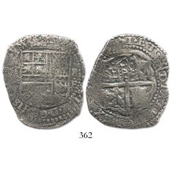 Potosi, Bolivia, cob 8 reales, (16)51E, crowned-PH countermark on cross.