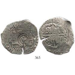 Potosi, Bolivia, cob 8 reales, (16)51E, crown-alone (common) countermark on shield.