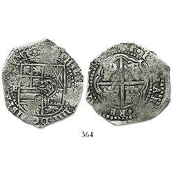 Potosi, Bolivia, cob 8 reales, 16(51)E, crowned-S countermark on shield (scarce).