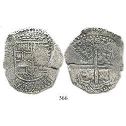 Potosi, Bolivia, cob 8 reales, 165(1)E, crowned-L countermark on cross.