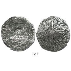 Potosi, Bolivia, cob 8 reales, (1)65(1-2)E, with crown-alone countermark on shield.