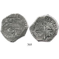 Potosi, Bolivia, cob 4 reales, (1)650O, with crowned-.F. countermark on shield, unique error struck