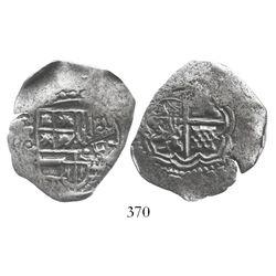 Potosi, Bolivia, cob 4 reales, (1651-2)E, with crowned-.F. countermark on shield.