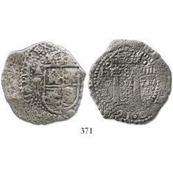 Potosi, Bolivia, cob 8 reales, 1652E, transitional Type IV, scarce.