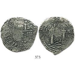 Potosi, Bolivia, cob 8 reales, 1652E post-transitional (Type VIII/B), 1-PH-6 at top.