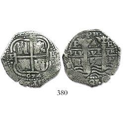 Potosi, Bolivia, cob 4 reales, 1654/3E, .PH. at top, very rare.