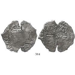 Potosi, Bolivia, cob 8 reales, 165(0-1)O, with 2 crowned-C countermarks on cross (rare).