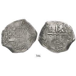 Potosi, Bolivia, cob 8 reales, 165(1-2)E, distinctive 5, crowned-L countermark on cross.