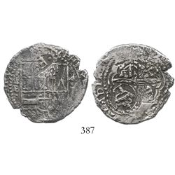 Potosi, Bolivia, cob 4 reales, (1651-2)E, with 2 countermarks (very rare): crowned .F. on shield and