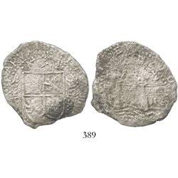 Potosi, Bolivia, cob 8 reales, 1652E, transitional Type VIII/A, ex-Haskins collection.