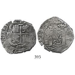 Potosi, Bolivia, cob 4 reales, 1653E, sideways 4, PH at top.