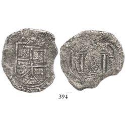 Bogota, Colombia, cob 8 reales, 1652(PoRAS or PoRMS), rare, ex-Haskins collection.