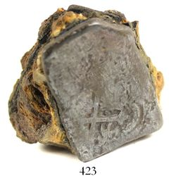 Mexico City, Mexico, cob 8 reales, Charles II, assayer not visible, encrusted onto a chunk of crud.