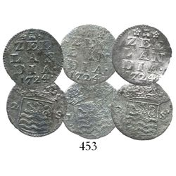 Lot of 3 Zeeland, United Netherlands, 2 stuivers, 1724, important as the key to identifying the wrec