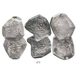Lot of 3 Mexico City, Mexico, cob 8R, assayer R (1729-30).