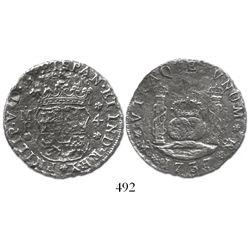Mexico City, Mexico, pillar 4 reales, Philip V, 1737MF.