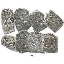 Lot of 4 Guatemala, cob 8 reales, Philip V, assayer J (where visible).