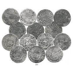 Lot of 7 Mexico City, Mexico, pillar 8 reales, Philip V, 1740MF.