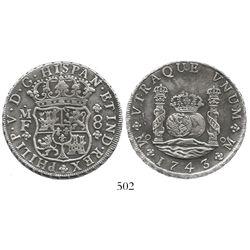 Mexico City, Mexico, pillar 8 reales, Philip V, 1743/2MF.