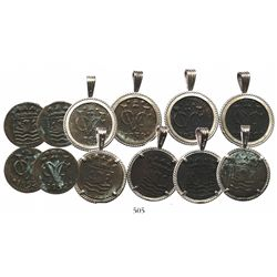 Lot of 6 Zeeland, Netherlands, copper duits, 1752, four of them in silver necklace bezels.