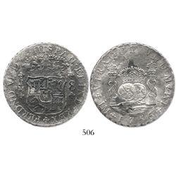 Lima, Peru, pillar 8 reales, Ferdinand VI, 1756JM.