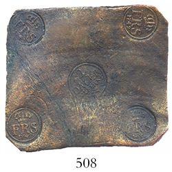 "Swedish copper ""plate money"" 2 dalers, Fredrik I, 1742."