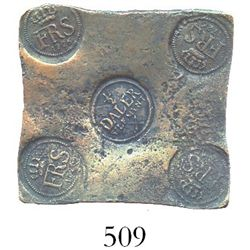 "Swedish copper ""plate money"" 1/2 daler, Fredrik I, 1726."