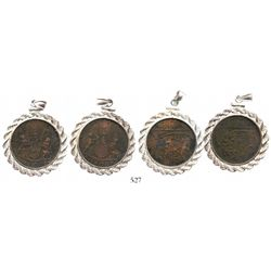 Lot of 2 British East India Co. copper X cash, 1808, mounted arms-side out in silver necklace bezels