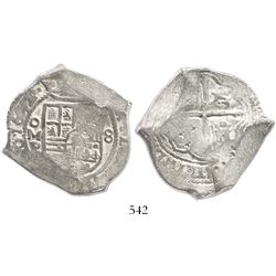 Mexico City, Mexico, cob 8 reales, 1652P, with tiny chopmarks as from circulation in the Orient.