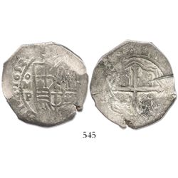 Mexico City, Mexico, cob 8 reales, 1653P, with test-cuts as from circulation in the Orient.