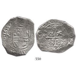Mexico City, Mexico, cob 8 reales, 1656P, unspecified salvage.