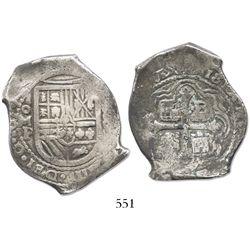 Mexico City, Mexico, cob 8 reales, 1657/6P, rare.