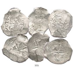 Lot of 3 Mexico City, Mexico, cob 8 reales, with partially visible dates in the 1640s, assayer P, mo