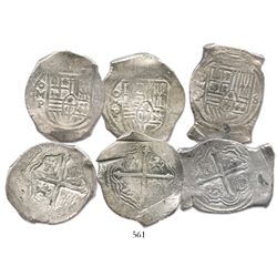 Lot of 3 Mexico City, Mexico, cob 8 reales, Philip IV, assayer P, most with chopmarks and/or test-cu