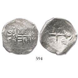 Mexico City, Mexico, cob 4 reales, 1633D, very rare.
