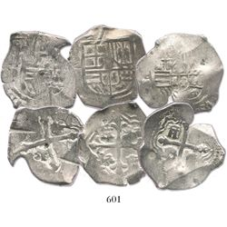 Lot of 3 Mexico City, Mexico, cob 4 reales, Philip IV, assayer P (where visible), interesting shapes