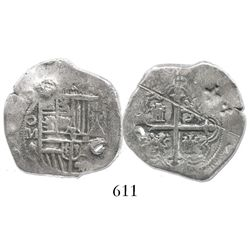 Mexico City, Mexico, cob 2 reales, Philip III, assayer A/F, with chopmarks as from circulation in th