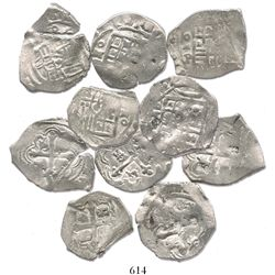 Lot of 5 Mexico City, Mexico, cob 2 reales, Philip IV, assayer P, all with chopmarks and/or cuts as