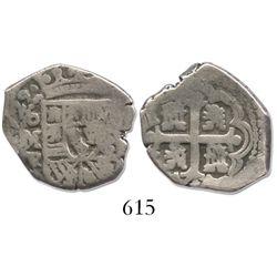 Mexico City, Mexico, cob 2 reales, 1729R, rare.