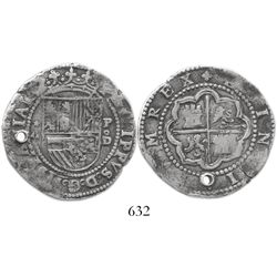 Lima, Peru, cob 4 reales, Philip II, assayer Diego de la Torre, *-4 to left, P-oD to right.