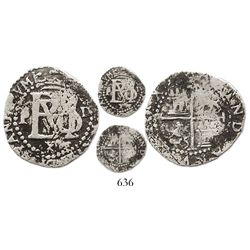 Lima, Peru, cob 1/2 real, Philip II, assayer Diego de la Torre, P to left, .D to right, v/upside-dow