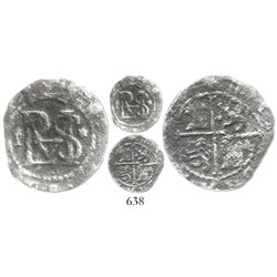 Lima, Peru, cob 1/2 real, Philip II, assayer Diego de la Torre, P to left, * to right of monogram, n