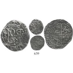 Lima, Peru, cob 1/2 real, Philip II, assayer Diego de la Torre, P to left, .D to right, * below mono