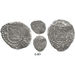 Lima, Peru, cob 1/4 real, Philip II, assayer Diego de la Torre, * to left, P to right of castle.