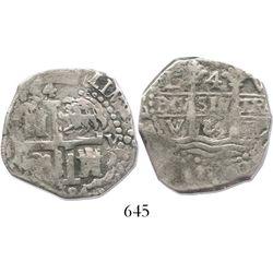 Lima, Peru, cob 4 reales, 1684V, rare.