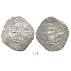 Lima, Peru, cob 4 reales, 1692V, rare.