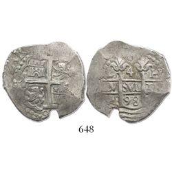 Lima, Peru, cob 4 reales, 1698H.